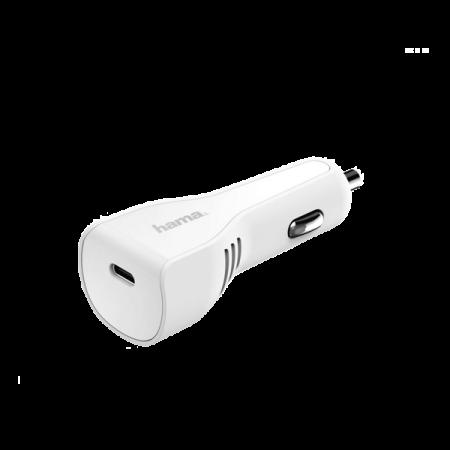 Hama incarcator auto USB Type-C port PD 3A 27 W Alb
