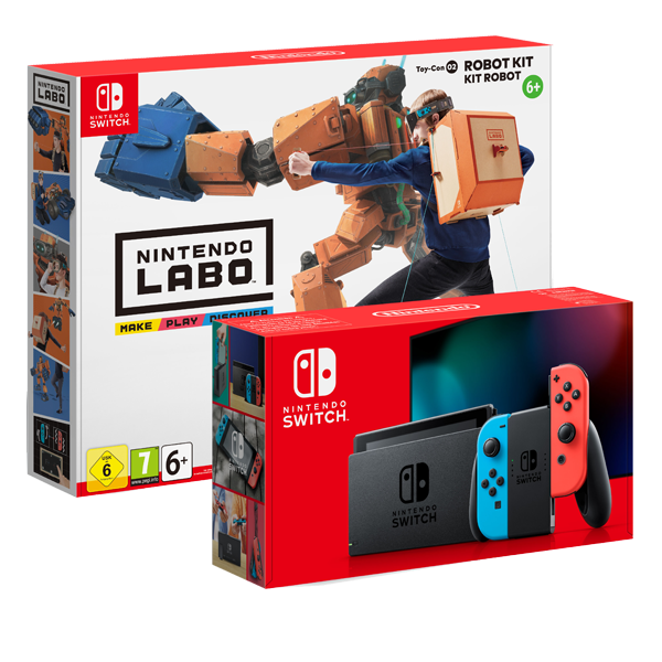 Nintendo Switch Neon Red-Blue plus Nintendo Labo Robot kit