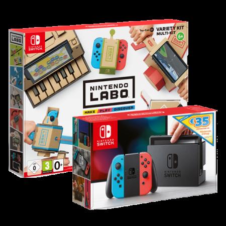 Nintendo Switch Neon Red-Blue plus Nintendo Labo Variety kit
